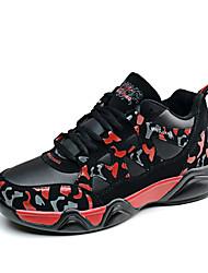 Feminino-Tênis-Conforto-Rasteiro-Azul / Preto e Vermelho / Preto e Branco-Pele-Casual / Para Esporte