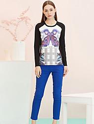 Pantalon Aux femmes Slim simple Coton / Nylon / Spandex Micro-élastique
