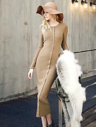 Gaine Robe Femme Sortie simple,Couleur Pleine Col Arrondi Mi-long Manches Longues Noir / Marron Coton Printemps / Automne Taille Normale