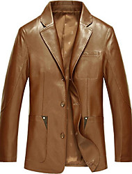Men's Plus Size / Casual/Daily Simple Leather Jackets,Solid Long Sleeve Black / Brown Special Leather Types