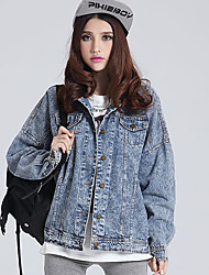 Women's Casual/Daily Simple Denim Jackets,Solid Long Sleeve Winter Blue Cotton