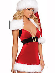Santa Suits Festival/Holiday Costumes Red / White Solid Dress / Hat  Christmas Terylene