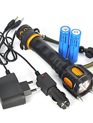 2500lm tático XM-l t6 lanterna led audível tocha alarme 2x18650 lâmpada