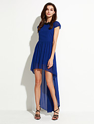 Monta Women's Lace / Solid Color Blue Dresses , Vintage / Sexy / Casual / Lace / Party Round Sleeveless