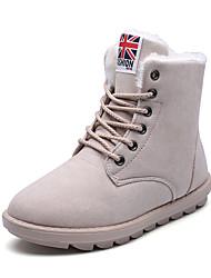 Women's Boots Winter Comfort PU Dress / Casual Flat Heel Lace-up Black / Brown / Beige / Burgundy Walking