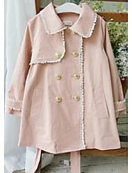 Mädchen Trenchcoat-Lässig/Alltäglich einfarbig Baumwolle Frühling / Herbst Rosa / Beige