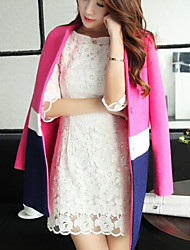 Women's Casual/Daily Simple Coat,Solid Long Sleeve Pink / Purple Polyester