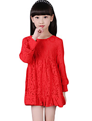 Girl's Casual/Daily Solid DressCotton Spring / Fall Black / Pink / Red