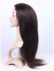 brasilianisches reines Menschenhaar 2 # dunkelbraune Farbe volle Spitze&Frontlicht yk gerade Perücke mit Baby-Haar-Spitze
