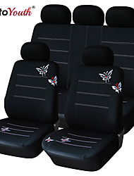 9 PCS Set Car Seat Covers Universal Fit Black Butterfly Design Material Polyester Car Accessories