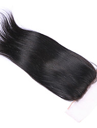 Silky Straight 100% Human Hair Silk Base Closure 4x4 Inches Straight Brazilian Hair Silk Based Lace Closure with Baby Hair