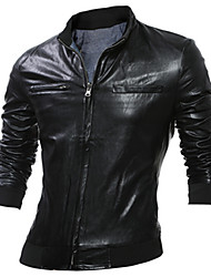 Men's Casual/Daily Simple Leather JacketsSolid Stand Long Sleeve Fall / Winter Black / Gray PU Thick