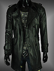 Men's Casual/Daily Simple Leather Jackets,Solid Long Sleeve Black Polyester