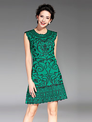 Women's Going out / Casual/Daily Vintage / Simple Sheath DressEmbroidered