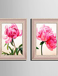 E-HOME® Framed Canvas Art, Pink Flowers Framed Canvas Print Set of 2