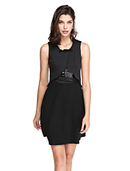 TS Couture® Cocktail Party Dress Sheath / Column Jewel Short / Mini Jersey with Bow(s) / Sequins