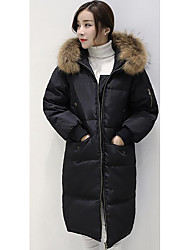 Women's Down Coat,Simple Casual/Daily Solid-Others White Duck Down Long Sleeve White / Black