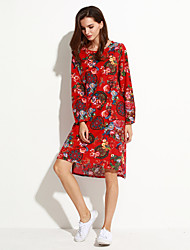 Women's Going out Chinoiserie Loose Dress,Floral Round Neck Asymmetrical Long Sleeve Blue / Red Cotton / Spandex Spring