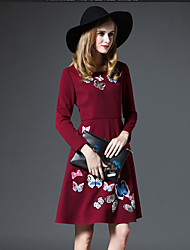 GATHER BEAUTY Women's Going out Cute A Line DressEmbroidered Round Neck Knee-length Long Sleeve Red Rayon Fall High Rise Inelastic Medium