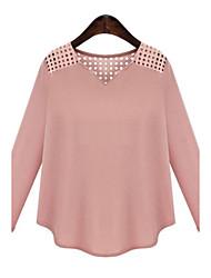 Damen Solide Einfach Lässig/Alltäglich T-shirt,V-Ausschnitt Alle Saisons Langarm Rosa / Schwarz Polyester Mittel