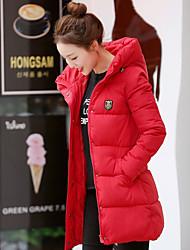 Manteau Doudoune Femme,Normal simple Sortie Couleur Pleine-Polyester Duvet de Canard Blanc Manches Longues Bleu Rose Rouge Blanc Noir Gris