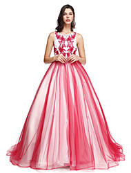 2017 Formal Evening Dress-Burgundy A-line Scoop Court Train Tulle / Charmeuse