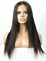 cabelo brasileiro virgem cor natural yaki peruca dianteira do laço glueless reta