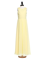 LAN TING BRIDE Floor-length Chiffon Lace Junior Bridesmaid Dress Sheath / Column Jewel with Pleats