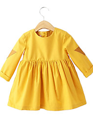 Girl's Cotton Spring/Fall Fashion Casual/Daily Sweet Solid Yellow Long Sleeve Princess Bubble Skirt