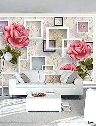 Fleur / Décoration artistique / 3D Fond d'écran pour la maison Contemporain Revêtement , Tissu Matériel adhésif requis Mural , Chambre