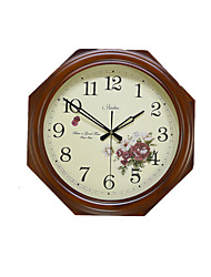 Octagonal Solid Wood Pastoral Ultra - Quiet Living Room Bedroom Wall Clock Fashion Simple Quartz Clock