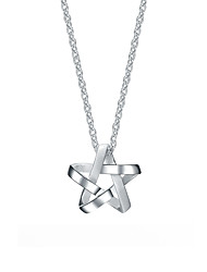 SILVERAGE Sterling Silver Weave Star Pendant Necklace 18''