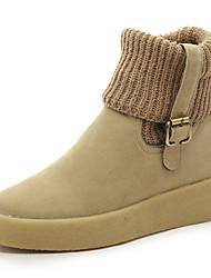 Women's Boots Spring Fall Winter Platform Leather Casual Flat Heel Hook & Loop Black Beige Khaki Other