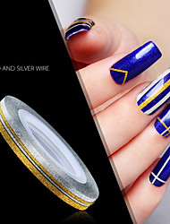 12 Kinds Of Color/SET Nail Art Decoration 2MM Gold And Silver Line Bring Back Glue Frosted Glisten