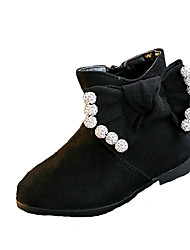 Girl's Boots Fall / Winter Comfort Suede Dress / Casual Flat Heel Zipper Black / Red Walking