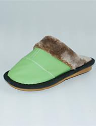 M.livelihood.H  Women's Slippers & Flip-Flops Winter Slingback Cowhide Casual Flat Heel Others Green  Others-YQ201607