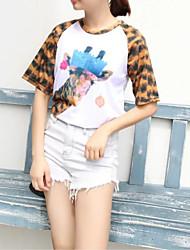 Damen Leopard / Tierfell-Druck Einfach / Niedlich Lässig/Alltäglich T-shirt,Rundhalsausschnitt Alle Saisons ½ Länge Ärmel Weiß Polyester