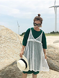 1305 # (Sign) chic retro long section of South Korea T + sweet lace harness dress two-piece
