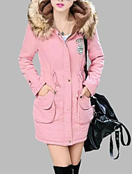 Women Fashion Winter Warm furcollar Long Jacket Coat Wool Hat Cotton-Padded Hoodies Clothes