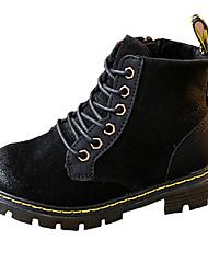 Girl's Boots Fall Winter Comfort PU Casual Dress Flat Heel Zipper Lace-up Black Brown Gray Walking
