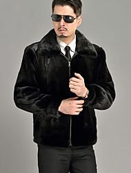 Men's Casual / Formal / Work Vintage / Street chic Zip Coat Solid Long Sleeve Winter Black Faux Fur Thick