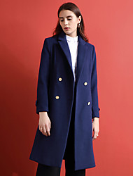 Women's Going out Simple Coat,Solid Notch Lapel Long Sleeve Winter Blue Wool / Polyester Medium