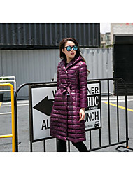 Women's Long Down Coat,Street chic Casual/Daily Solid-Nylon White Duck Down Long Sleeve Hooded Pink / Red / Black / Purple