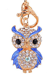 Fashion Diamond Owl Car Key Bag Lady Pendant Key Buckle Ring Chain Metal Color