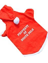 Коты Собаки Толстовки Одежда для собак Зима Весна/осень Однотонный Милые Рождество Новый год Красный