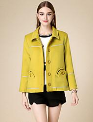 Damen Solide Einfach Lässig/Alltäglich Mantel,Winter Hemdkragen Langarm Gelb Baumwolle