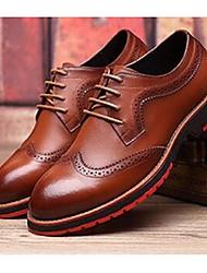 Для мужчин Туфли на шнуровке Удобная обувь Кожа Для офиса Повседневный Черный Желтый Коричневый Синий Менее 2,5 см