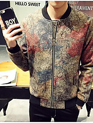 Men's Casual/Daily Vintage Jackets,Color Block Stand Long Sleeve Fall Multi-color Cotton Thin