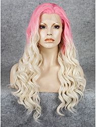 IMSTYLE 24Pink Blonde Ombre Synthetic Lace Front Wigs High Heat Resistant Fiber
