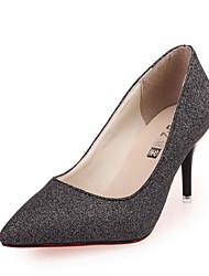 Damen-High Heels-Lässig-PU-Stöckelabsatz-Komfort-Schwarz und Gold